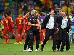 Belgiens Nationaltrainer Marc Wilmots feiert den Viertelfinaleinzug