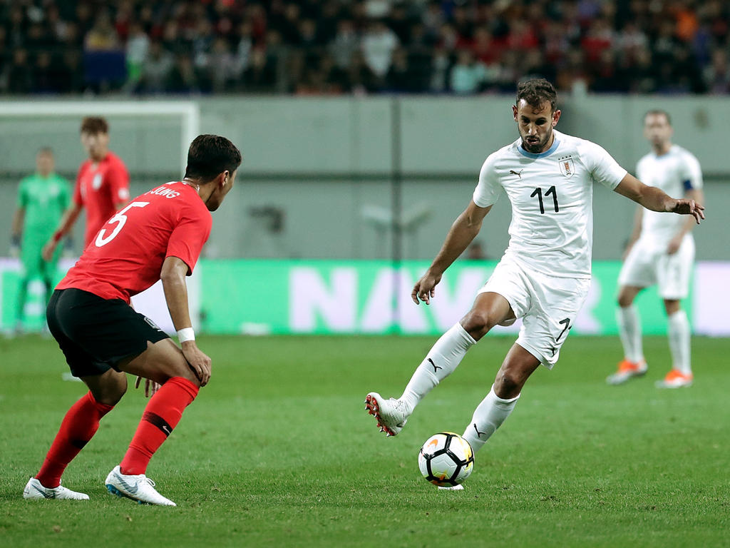Stuani en un partido amistoso contra Corea del Sur.