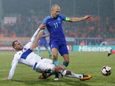 Arjen Robben traf im WM-Qualifikationsspiel für die Niederlande