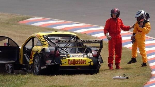 Laurent Aiellos zerstörter Abt-Audi TT beim missglückten Versuch im Jahr 2003
