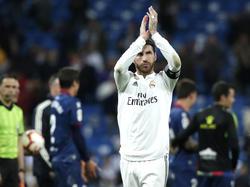 Ramos se despide del Bernabéu en el duelo ante el Huesca. (Foto: Getty)