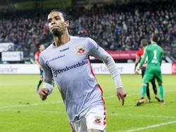 Jarchinio Antonia heeft zojuist Go Ahead Eagles op een 0-2 voorsprong gezet tegen NEC. (04-02-2017)
