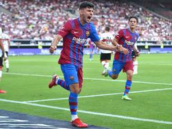 Yusuf Demir jubelt über seinen ersten Treffer für Barcelona