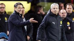 Niko Kovac vom FC Bayern (l.) und BVB-Coach Lucien Favre glauben an ihr eigenes Team