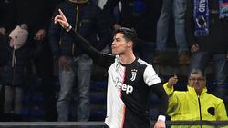 Cristiano Ronaldo celebra una de sus dianas en el Calcio.