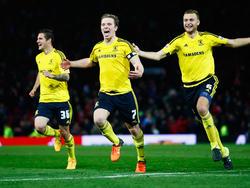 Bruno Zuculini (centro) celebrando un gol con el Middlesbrough en Copa. (Foto: Getty)
