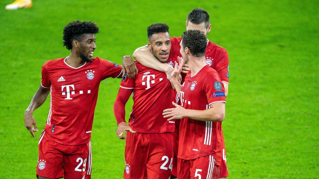 Kingsley Coman (l.) und Corentin Tolisso (2.v.l.) markierten drei der vier Bayern-Treffer