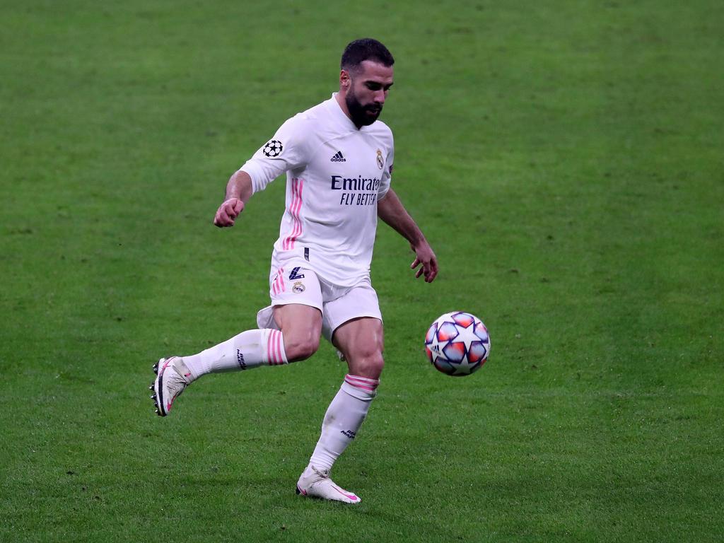 Carvajal en el duelo Champions contra el Inter de Milán.