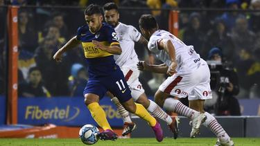 Eduardo Salvio en su primer partido con Boca.
