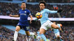 Leroy Sané (r.) trifft mit Manchester City auf den FC Chelsea