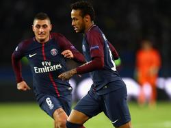 Verratti y Neymar en un partido de la presente campaña. (Foto: Getty)