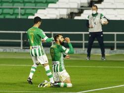 Borja Iglesias celebra su nuevo gol con el Betis.