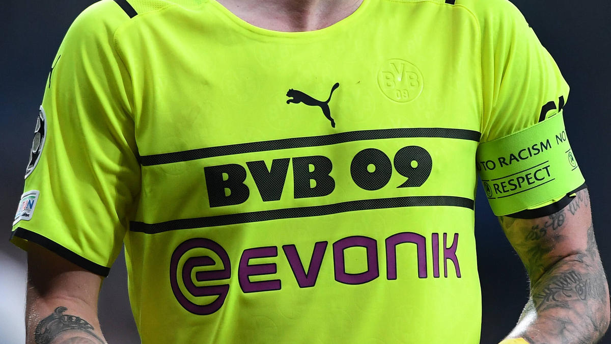 Auf den Champions-League-Trikots ist das traditionelle BVB-Logo kaum zu erkennen