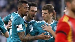 Zeigen gute Leistungen bei BVB und FC Bayern: Mats Hummels, Jérôme Boateng und Thomas Müller (v.l.)