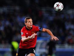 Manchester-United-Verteidiger Nemanja Vidić hat das runde Leder fest im Visier