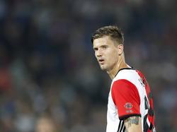 Michiel Kramer krijgt speelminuten tijdens het bekerduel Feyenoord - FC Oss (22-09-2016).