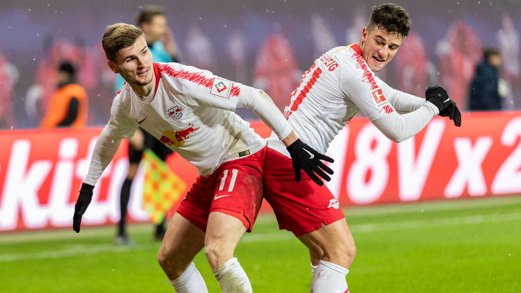 Timo Werner (l.) erzielte einen Doppelpack für RB Leipzig