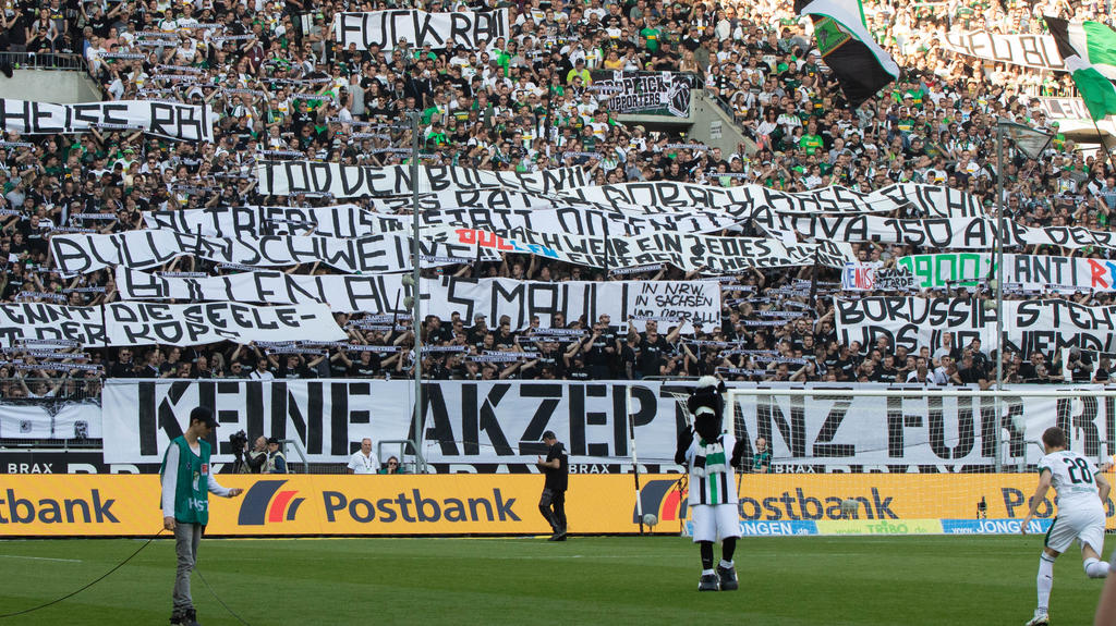 Die Gladbacher Fan-Szene protestierte gegen Leipzig