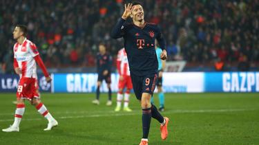 Robert Lewandowski traf gegen Belgrad vierfach für den FC Bayern