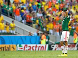 Diego Reyes baalt van de uitschakeling van Mexico in de achtste finale op het WK 2014. Nederland is in de slotfase met 2-1 te sterk. (29-6-2014)
