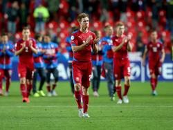 Tomáš Kalas (voorgrond) tijdens een interland tegen Duitsland met Tsjechië O21. (23-06-2015)