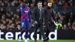 Ousmane Dembélé (l.) musste gegen den BVB verletzt vom Platz