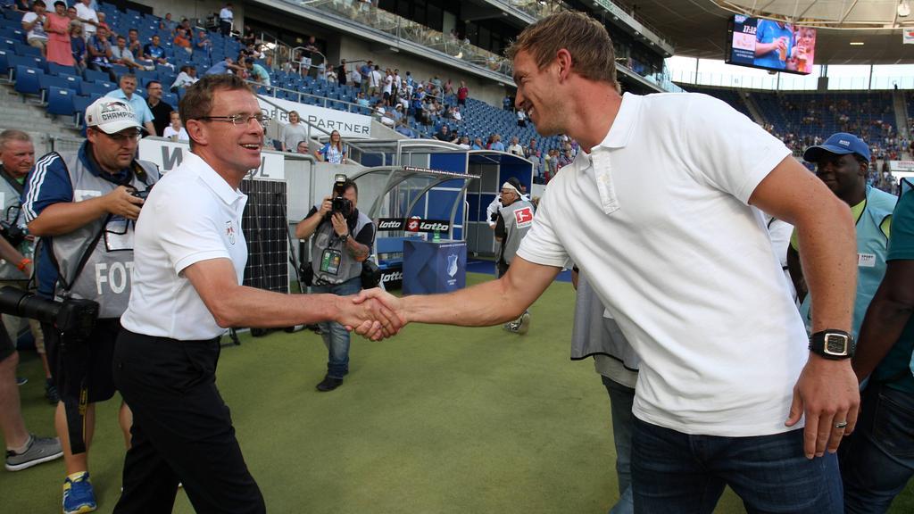 Gegenwart trifft Zukunft: Ralf Rangnick (l.) duelliert sich mit Julian Nagelsmann (r.)