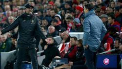 Emotional: Liverpool-Coach Jürgen Klopp (l.) und Bayern-Trainer Niko Kovac