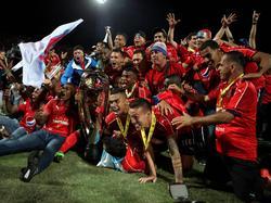 Independiente Medellín feiert den Gewinn der Apertura