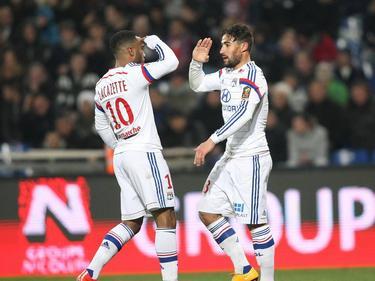 Kaum zu stoppen: Lyons Alexandre Lacazette (l.) und Nabil Fekir