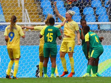 Nilla Fischer bejubelt den Treffer zum 1:0-Sieg der Schwedinnen