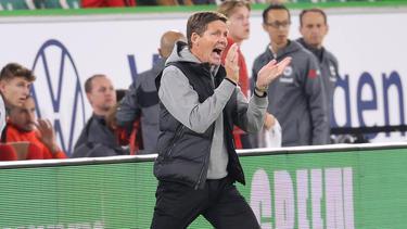 Frankfurts Trainer Oliver Glasner gestikuliert am Spielfeldrand