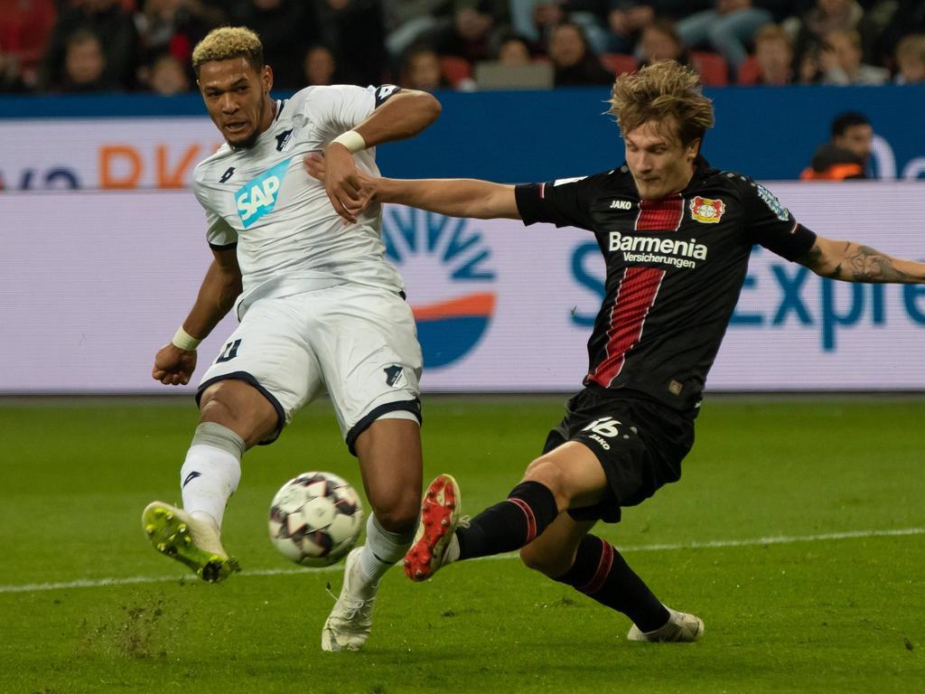 Joelinton (l.) traf in Leverkusen zweimal. © imago/DeFodi/Jürgen Schwarz