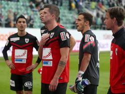 Bittere Momente für den FC Aarau nach dem Schlusspfiff
