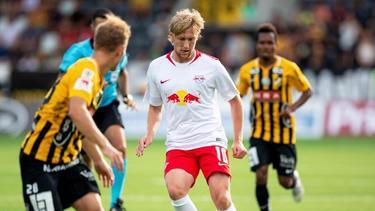RB Leipzig kann im Europapokal auf Emil Forsberg (M.) setzen