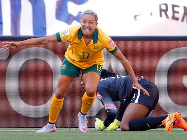 La delantera de Australia Kyah Simon celebra uno de sus goles ante Nigeria. (Foto: Getty)