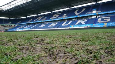 Schlechte Platzverhältnisse im Stadion des MSV Duisburg (Quelle: MSV Duisburg)