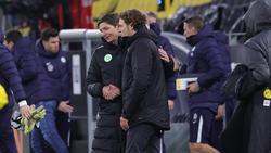 BVB-Coach Edin Terzic (r.) und Oliver Glasner vom VfL Wolfsburg werden bei Eintracht Frankfurt gehandelt