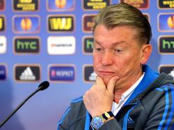 Oleg Blokhin bei der Pressekonferenz vor dem Spiel Rapid gegen Dinamo Kiev