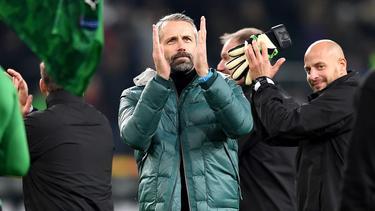 Marco Rose steht mit Gladbach an der Tabellenspitze der Bundesliga