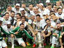 Der Ferencvárosi TC jubelt über den Cupsieg