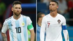 """Ronaldo (r.) hofft auf ein """"Date"""" mit Messi"""
