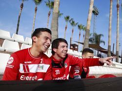 Ali Messaoud (l.) en Jeffrey Leiwakabessy vermaken zich tijdens het trainingskamp van NEC in Marbella, Spanje. (03-01-2016)