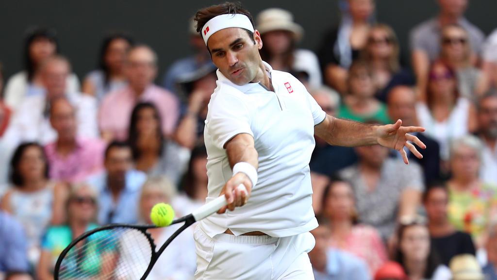 Federer durante un encuentro de Wimbledon.