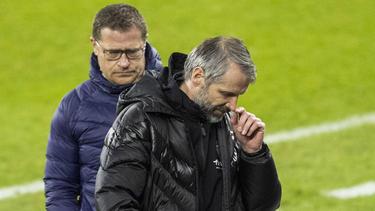 Gladbach-Manager Max Eberl (l.) musste Marco Rose zum BVB ziehen lassen