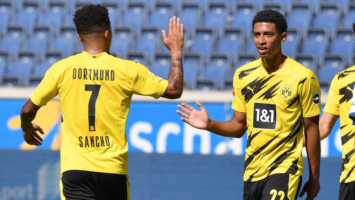 Zwei BVB-Stars waren bei der EM für England unterwegs: Jadon Sancho (l.) und Jude Bellingham