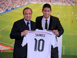 Haben wohl immer noch ein gutes Verhältnis: Real-Präsident Florentino Pérez und James Rodríguez