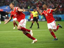 Artem Dzyuba celebrando el 3-0 contra Egipto. (Foto: Getty)