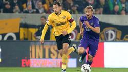 Aues Jan Hochscheidt (r.) entführte mit dem FC Erzgebirge einen Zähler aus Dresden