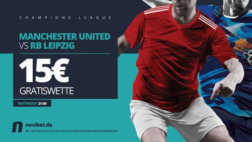 Manchester United gegen RB Leipzig mit 15€ Gratiswette